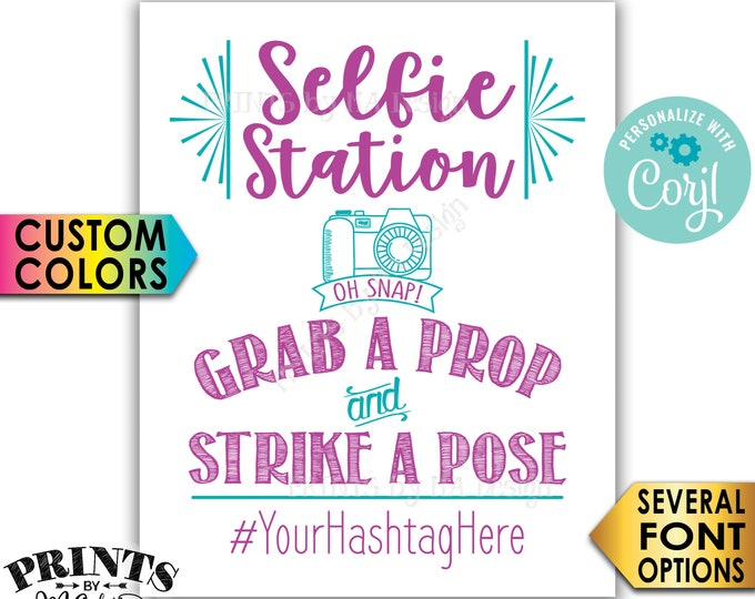 "Selfie Station Sign, Share Your Pics on Social Media, PRINTABLE 8x10/16x20"" Hashtag Sign, Custom Colors <Edit Yourself with Corjl>"