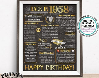 """1958 Birthday Flashback Poster, Back in 1958 Birthday Decorations, '58 B-day Gift, PRINTABLE 16x20"""" B-day Sign <ID>"""