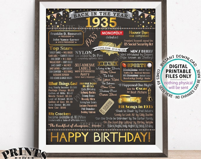 "Back in 1935 Birthday Poster Board, Flashback to 1935 Birthday Decoration, 1935 B-day Gift, PRINTABLE 16x20"" Sign <ID>"