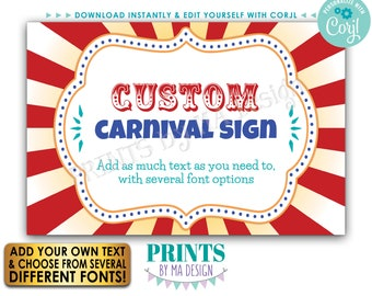 """Custom Carnival Sign, Carnival Theme Party Sign, Circus Birthday Party, One PRINTABLE 24x36"""" Landscape Sign <Edit Yourself w/Corjl>"""