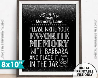 """Share a Memory Sign, Take a Trip Down Memory Lane & Share a Favorite Memory, Birthday Party, Retirement, Silver, Custom 8x10"""" PRINTABLE Sign"""