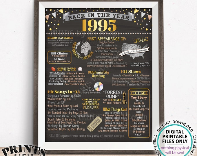 "Back in the Year 1995 Poster Board, Remember 1995 Sign, Flashback to 1995 USA History from 1995, PRINTABLE 16x20"" Sign <ID>"