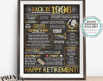 "Retirement Party Decorations, Back in 1996 Poster, Flashback to 1996 Retirement Party Decor, PRINTABLE 16x20"" Sign <ID>"