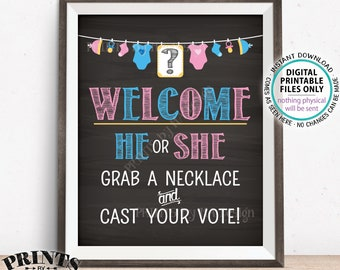 """Gender Reveal Party Sign, He or She? Grab a Necklace and Cast Your Vote Pink/Blue, Boy/Girl, PRINTABLE Chalkboard Style 8x10"""" Sign <ID>"""
