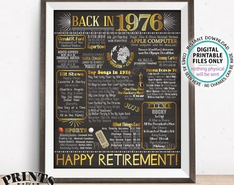 "Retirement Party Decorations, Back in 1976 Poster, Flashback to 1976 Retirement Party Decor, PRINTABLE 16x20"" Sign <ID>"