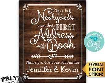 "Wedding Address Book Sign, Ask Guests for their Address, PRINTABLE 8x10/16x20"" Rustic Wood Style Wedding Sign <Edit Yourself with Corjl>"
