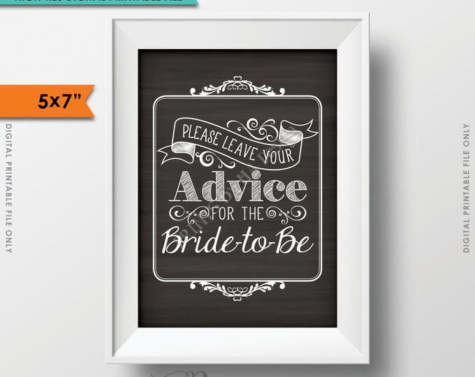 Advice for the Bride, Please Leave your Advice for the Bride-to-Be,  Give Advice Chalkboard Sign, Instant Download Digital Printable File