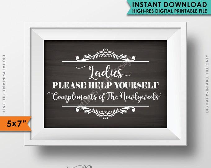 "Wedding Bathroom Sign, Ladies Please Help Yourself, Bathroom Basket Wedding Sign Restroom, Instant Download 5x7"" Chalkboard Style Printable"