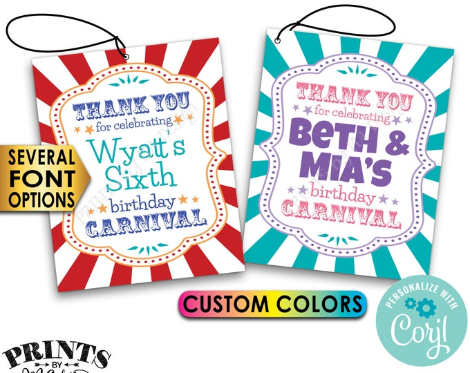 """Carnival Birthday Tags, Birthday Party Favors, Bday Goodie Bags, PRINTABLE 8.5x11"""" Sheet of 4x5"""" Cards <Edit Yourself with Corjl>"""