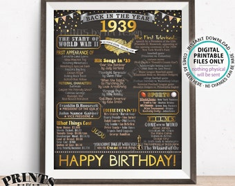 "1939 Birthday Poster Board, Back in 1939 Birthday Decoration, Flashback to 1939 B-day Gift, PRINTABLE 16x20"" Sign <ID>"