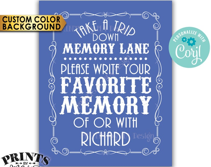 "Memory Sign, Take a Trip Down Memory Lane and Share a Favorite Memory, Better with Age, PRINTABLE 8x10"" Sign <Edit Yourself with Corjl>"
