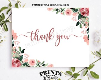 "Blush Floral Thank You Card, Bridal Shower, Baby Shower, PRINTABLE 4.25x5.5"" folded, 8.5x5.5"" Thanks Card <ID>"