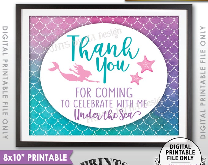 """Mermaid Party, Mermaid Birthday Thank You for coming to Celebrate with Me Under the Sea, 8x10"""" Watercolor Style Printable Instant Download"""