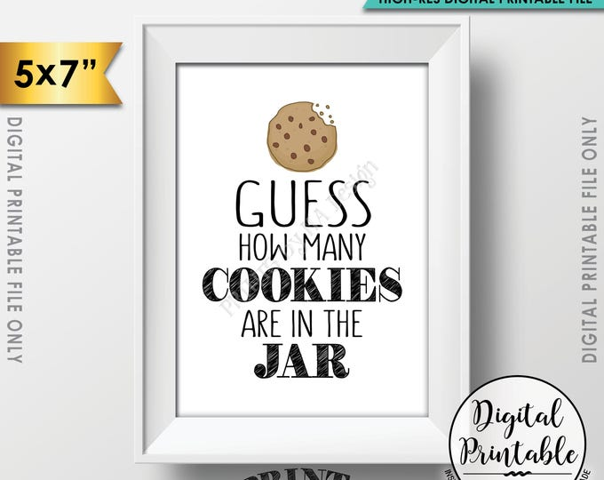 "Guess How Many Cookies are in the Jar Sign, Guess the Number of Cookies, Cookie Guessing Game, Birthday, 5x7"" Printable Instant Download"