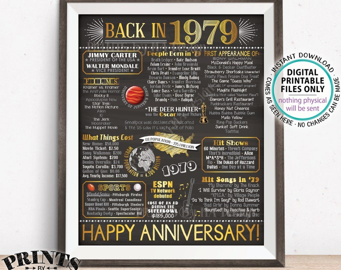 "1979 Anniversary Flashback Poster, Back in 1979, Anniversary Gift, 1979 Party Decoration, PRINTABLE 8x10/16x20"" Chalkboard Style Sign <ID>"