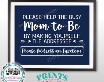 """Baby Shower Address Sign, Help Mom-to-Be Address an Envelope Sign, Baby Shower Decoration, It's a Boy, Navy Blue PRINTABLE 8x10"""" Sign <ID>"""