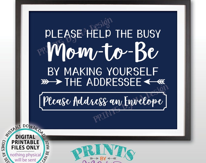 "Baby Shower Address Sign, Help Mom-to-Be Address an Envelope Sign, Baby Shower Decoration, It's a Boy, Navy Blue PRINTABLE 8x10"" Sign <ID>"