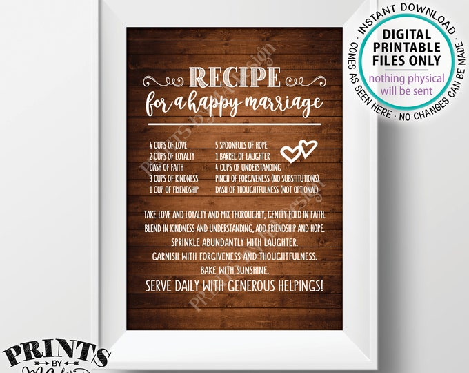 "Recipe for a Happy Marriage Sign, Key to a Happy Marriage, Funny, Cute, Marriage Advice, PRINTABLE 5x7"" Rustic Wood Style Wedding Sign <ID>"