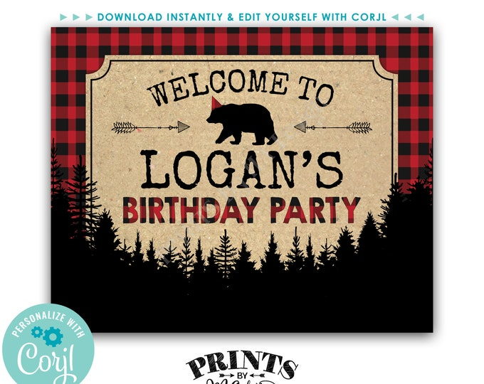 """Lumberjack Birthday Party Welcome Sign, Custom Name PRINTABLE 8x10/16x20"""" Red and Black Checker Bday Sign <Edit Yourself with Corjl>"""