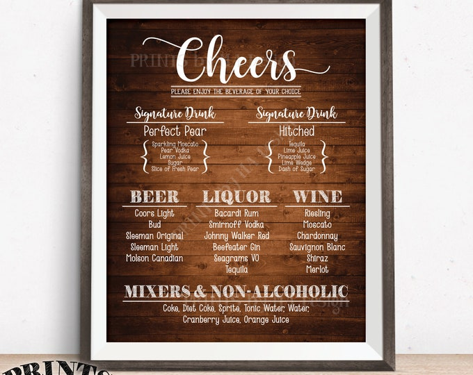 "Cheers Bar Menu Sign, Alcohol Drink Selection, Birthday Wedding Anniversary Retirement, Custom PRINTABLE 8x10/16x20"" Rustic Wood Style Sign"