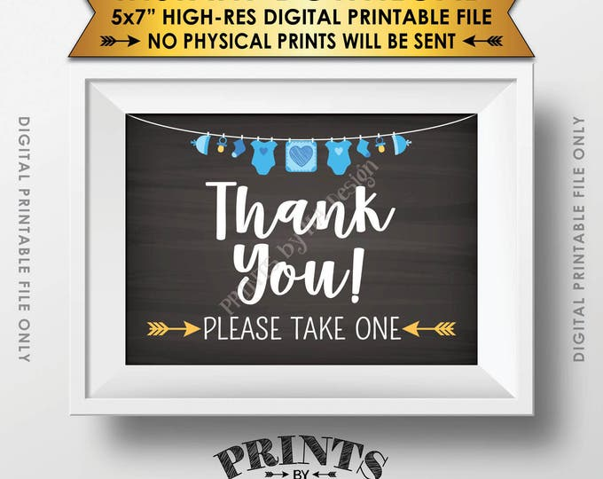 "Thank You Sign, Baby Shower Favors Sign, Thank You Please Take One Sign, Baby Shower Decor, 5x7"" Chalkboard Style Printable Instant Download"
