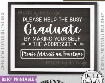 "Address Envelope Sign, Graduation Party Decorations, Address Your Own Envelope, Thank You Card, PRINTABLE 8x10"" Chalkboard Style Sign <ID>"