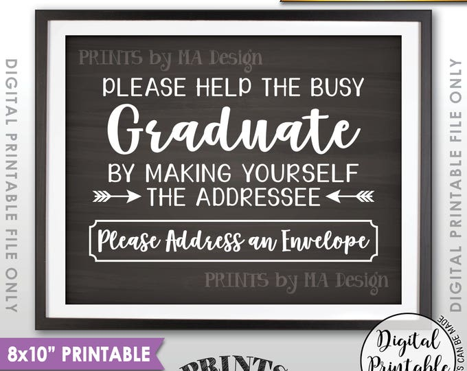 """Address Envelope Sign, Graduation Party Decorations, Address Your Own Envelope, Thank You Card, PRINTABLE 8x10"""" Chalkboard Style Sign <ID>"""