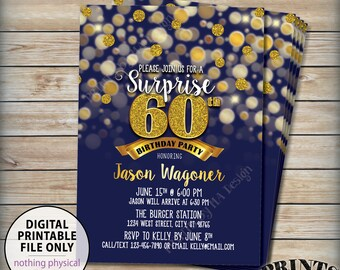 "Surprise Birthday Party Invitation, 30th 40th 50th 60th 70th Birthday Invite, Navy & Gold Glitter PRINTABLE 5x7"" Bday Invite, Digital File"