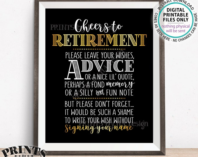 "Cheers to Retirement Party Sign, Leave Your Wish or Advice or Memory for the Retiree Celebration, PRINTABLE Black & Gold 8x10"" Sign <ID>"