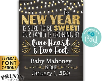 New Years Pregnancy Announcement, Our Family is Growing by 1 Heart & 2 Feet, PRINTABLE Chalkboard Style Sign <Edit Yourself with Corjl>