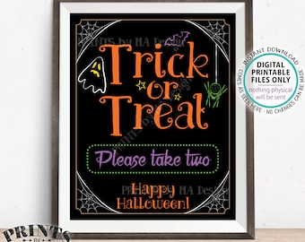 """Trick or Treat Sign, Please Take Two, Help Yourself to Candy Sign, Spider, Ghost, Festive PRINTABLE 8x10/16x20"""" Halloween Treat Sign <ID>"""