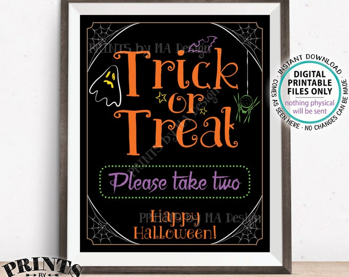 "Trick or Treat Sign, Please Take Two, Help Yourself to Candy Sign, Spider, Ghost, Festive PRINTABLE 8x10/16x20"" Halloween Treat Sign <ID>"