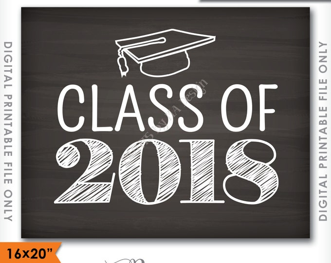 "Class of 2018 Sign, Graduation Party Decorations, 2018 High School Grad Party College Grad, Chalkboard Style PRINTABLE 8x10/16x20"" Sign <ID>"
