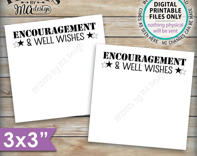 "Military Encouragement and Well Wishes Card, Patriotic Boot Camp Send Off Wishes, 3x3"" Cards on 8.5x11"" PRINTABLE Sheet <ID>"