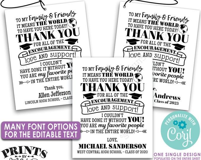 """Editable Graduation Tags, Grad Party Favors, Thank You Goodie Bags, B&W PRINTABLE 8.5x11"""" Sheet of 4x5"""" Tags/Cards <Edit Yourself w/Corjl>"""