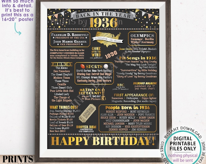"Back in the Year 1936 Birthday Sign, Flashback to 1936 Poster Board, '36 B-day Gift, Bday Decoration, PRINTABLE 16x20"" Sign <ID>"