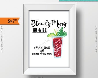 """Bloody Mary Bar Sign, Create Your Own Bloody Mary, Wedding Bridal Shower Brunch Menu, 5x7"""" Instant Download Digital Printable File"""