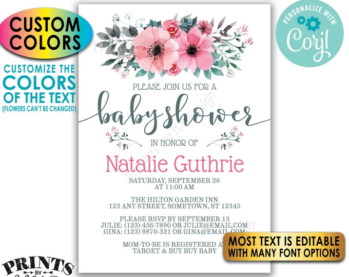 "Floral Baby Shower Invitation, Pink Teal/Turquoise Gray Flowers, Custom PRINTABLE 5x7"" Watercolor Style Invite <Edit Yourself w/Corjl>"