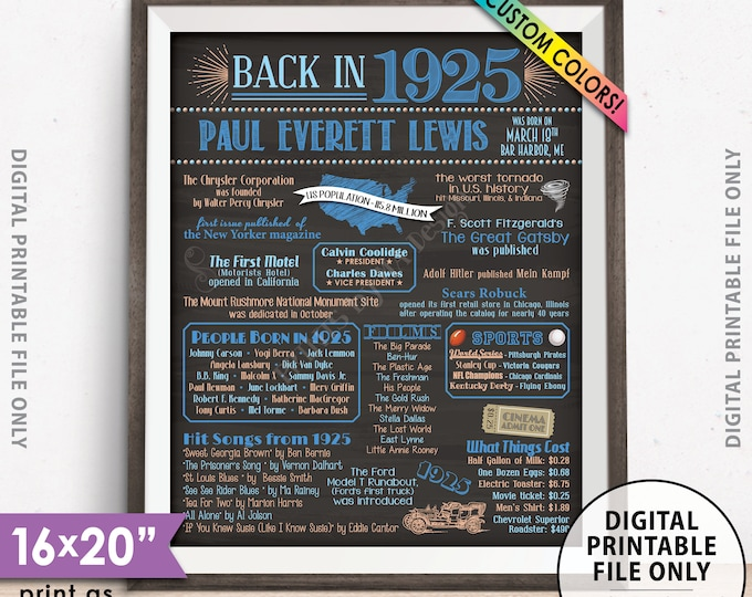 """Flashback to 1925 Poster, Back in 1925 Flashback Sign, Born in 1925 Birthday Party Decor, Chalkboard Style PRINTABLE 8x10/16x20"""" 1925 Poster"""