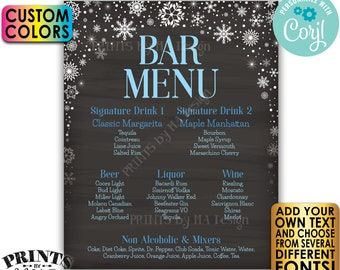 "Editable Bar Menu Sign, Winter Snowflakes, PRINTABLE 8x10/16x20"" Chalkboard Style Drink Menu Sign <Edit Yourself with Corjl>"