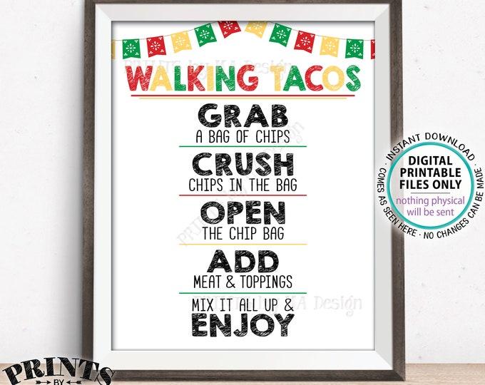 """Walking Tacos Sign, Taco Bar Sign, Cinco de Mayo Fiesta, PRINTABLE 8x10/16x20"""" Taco Sign <ID>"""