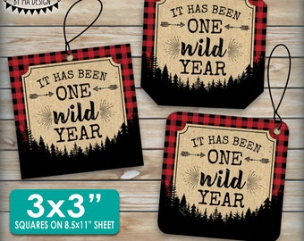 """It has been One Wild Year Lumberjack First Birthday Party Decor, Red Checker Buffalo Plaid 8.5x11"""" PRINTABLE Sheet of 3"""" Square Cards <ID>"""