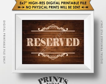 """Reserved Sign, Reserved Seating, Wood Wedding Sign, Rustic Wooden Sign, Rustic Wedding, 5x7"""" Rustic Wood Style Printable Instant Download"""