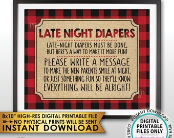 "Late Night Diaper Sign, Lumberjack Late-Night Diapers Sign the Diaper Baby Shower Game, Buffalo Plaid, PRINTABLE 8x10"" Instant Download Sign"