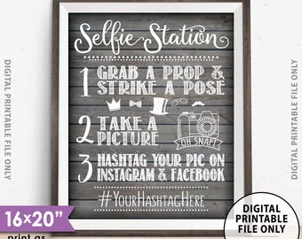 """Selfie Station Sign, Photobooth, Hashtag, Share on Social Media Instagram Facebook, Wedding Sign, 16x20"""" Rustic Wood Style Printable Sign"""