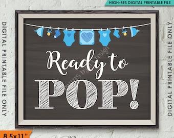 "Ready to Pop Baby Shower, Popcorn, Cake Pop, Take a Treat, Baby Shower Decor, 8.5x11"" Chalkboard Style Instant Download Digital Printable"