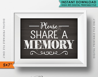 "Please Share a Memory Sign, Leave a Memory, Share Memories Chalkboard Party Decor, Birthday, 5x7"" Instant Download Digital Printable File"
