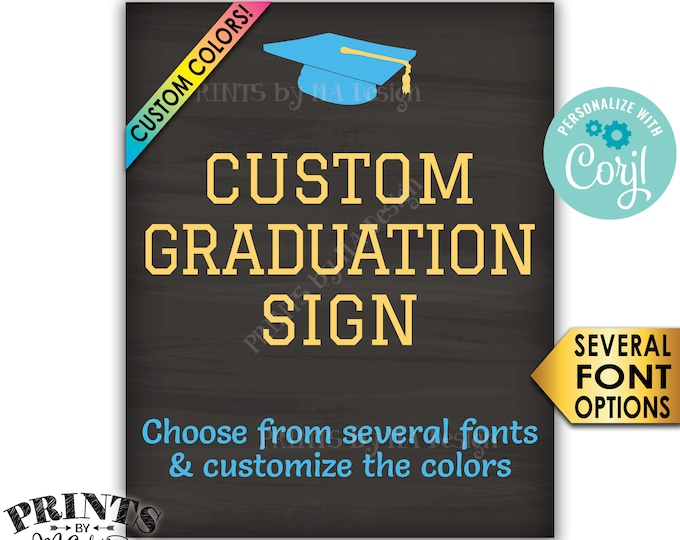 "Custom Graduation Party Decorations, Choose Text, Editable PRINTABLE 8x10/16x20"" Portrait Chalkboard Style Sign <Edit Yourself with Corjl>"