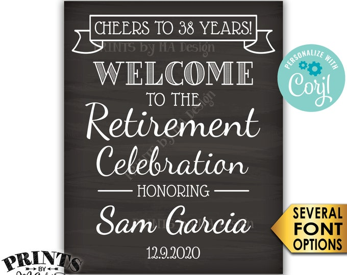 "Cheers to Retirement Party Sign, Welcome to the Retirement Celebration, PRINTABLE Chalkboard Style 16x20"" Sign <Edit Yourself with Corjl>"