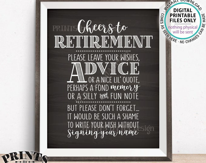 "Cheers to Retirement Party Sign, Leave Your Wish, Advice, or Memory for the Retiree Celebration, PRINTABLE Chalkboard Style 8x10"" Sign <ID>"
